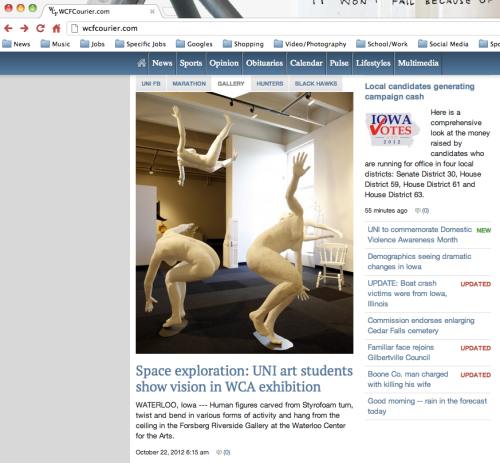 Exhibit featured on home page of Waterloo-Cedar Falls Courier