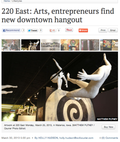 "Waterloo-Cedar Falls Courier features ""220 East,"" the gallery where Proprioceptive currently resides."