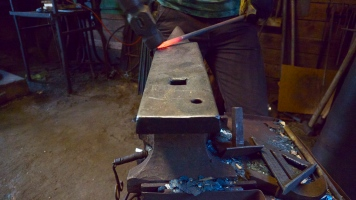 Hammering on the anvil
